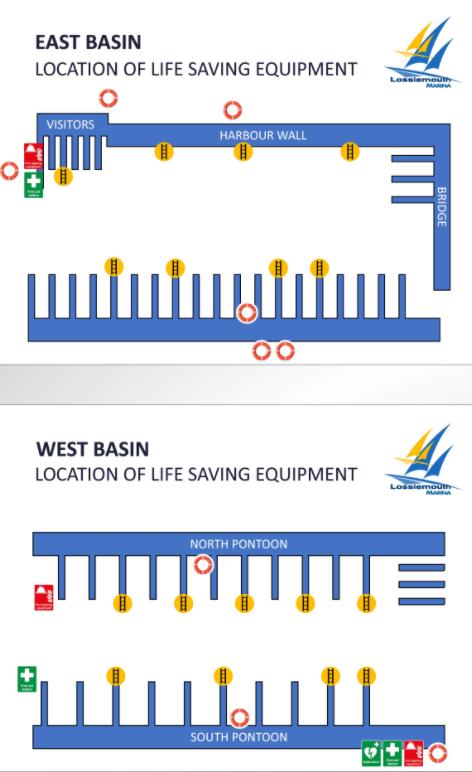 life saving equipment positions at Lossiemouth Marina