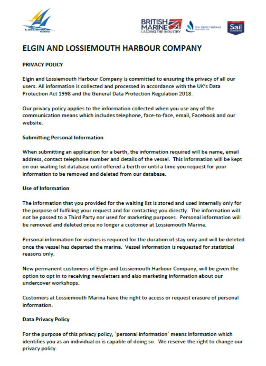 Lossiemouth Marina Privacy Policy